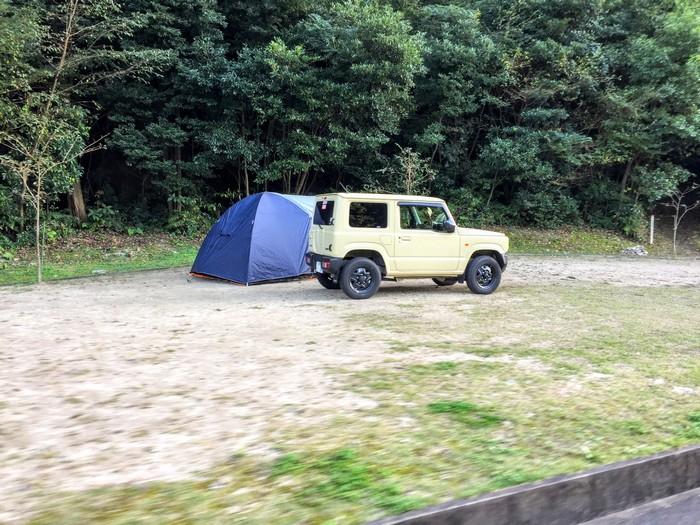 昭和の森 キャンプ 駐車場途中