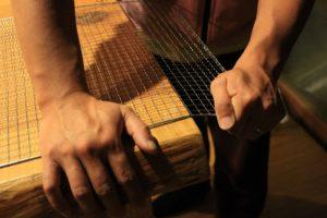 ピザ釜作り 網を曲げる
